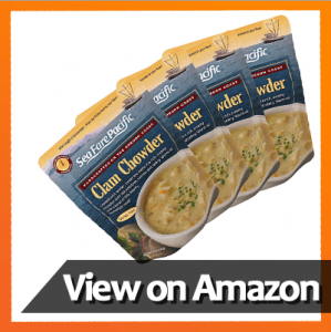 Clam Chowder - Sea Fare Pacific, 4 pack, gluten free, ready to eat, convenient microwavable/boilable pouch